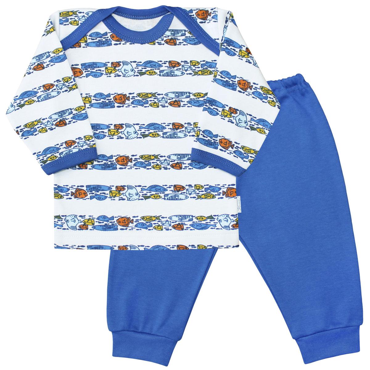 Пижама для мальчика Веселый малыш Морская жизнь, цвет: синий. 623332/мж-D (1). Размер 74623332Пижама для мальчика Веселый малыш выполнена из качественного материала и состоит из лонгслива и брюк. Лонгслив с длинными рукавами и круглым вырезом горловины. Брюки понизу дополнены манжетами.