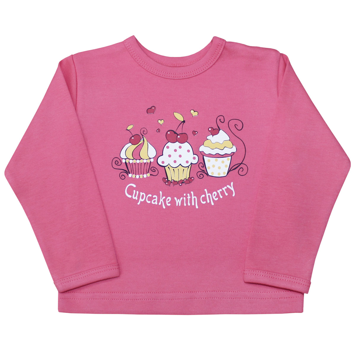 Лонгслив для девочки Веселый малыш Спелая вишня, цвет: розовый. 66322/св-E (1). Размер 8066322Лонгслив для девочки Спелая вишня выполнен из качественного материала. Модель с круглым вырезом горловины и длинными рукавами.