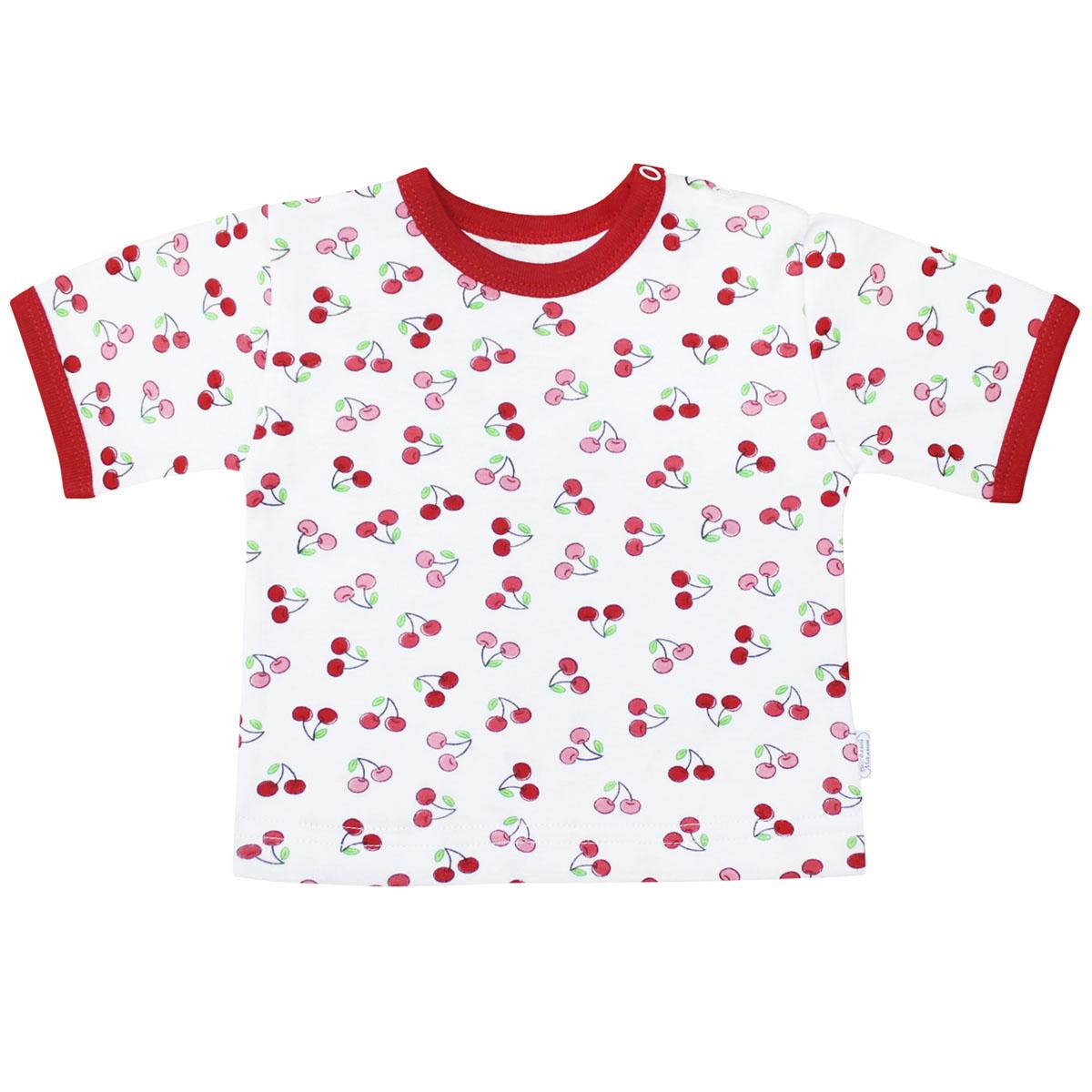 Футболка для девочки Веселый малыш Спелая вишня, цвет: белый, красный. 67322/св-E (1). Размер 8067322Футболка для девочки выполнена из качественного материала. Модель с круглым вырезом горловины и короткими рукавами.