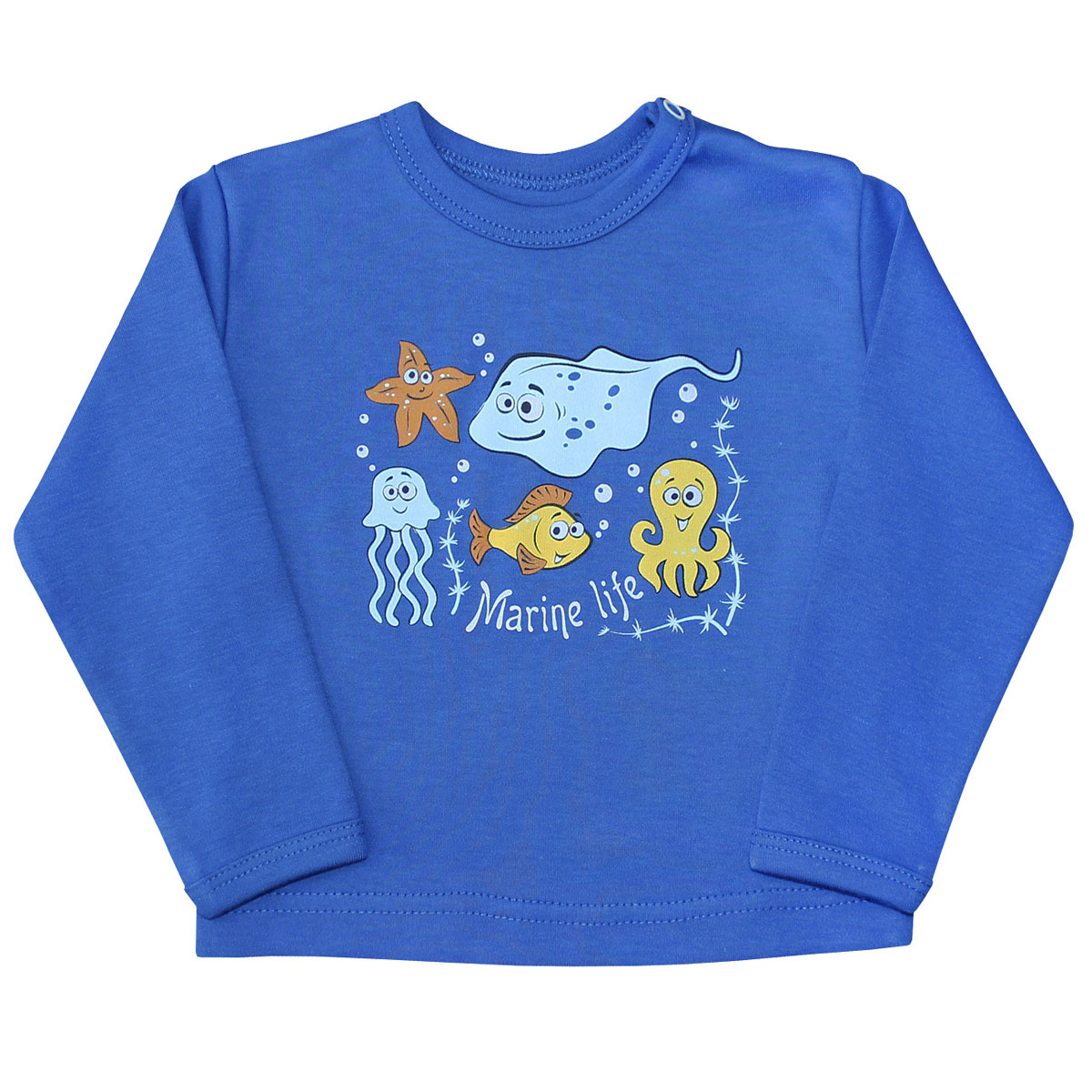 Лонгслив для мальчика Веселый малыш Морская жизнь, цвет: синий. 66322/мж-C (1). Размер 6866322Лонгслив для мальчика Веселый малыш Морская жизнь выполнен из качественного материала. Модель с круглым вырезом горловины и длинными рукавами.