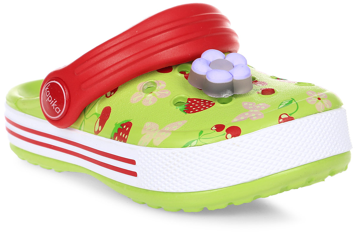 Сабо для девочки Kapika, цвет: салатовый, красный. 82102. Размер 2482102Прелестные сабо от Kapika придутся по душе вашему ребенку. Модель полностью изготовлена из материала ЭВА, благодаря которому обувь невероятно легкая и удобная, она легко моется и быстро сохнет. Изделие дополнено летним принтом. Верх модели оформлен перфорацией и декоративным элементом. Пяточный ремешок предназначен для фиксации стопы при ходьбе. Рифление на подошве гарантирует идеальное сцепление с любой поверхностью. Такие сабо - отличное решение для каждодневного использования в жаркую погоду.