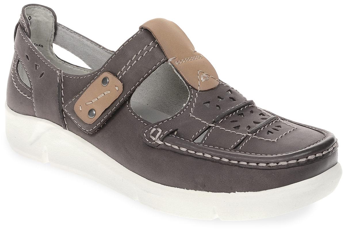 Туфли женские Jana, цвет: серый. 8-8-24613-28-314/290. Размер 388-8-24613-28-314/290Модные женские туфли от Jana выполнены из натуральной кожи и оформлены перфорацией. Внутренняя поверхность и стелька из натуральной кожи гарантируют комфорт. Ремешок с застежкой-липучкой надежно зафиксирует модель на ноге. Подошва дополнена рифлением.