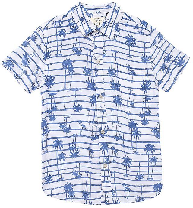 Рубашка для мальчика Sela, цвет: белый. Hs-812/203-7215. Размер 128Hs-812/203-7215Стильная рубашка для мальчика Sela выполнена из качесвтенного легкого материала и оформлена ярким принтом. Модель прямого кроя с короткими рукавами и отложным воротничком застегивается на пуговицы и дополнена накладным карманом на груди.Яркий цвет модели позволяет создавать стильные летние образы.