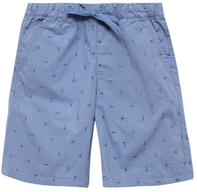 Шорты для мальчика Sela, цвет: голубой. SH-815/311-7215. Размер 122SH-815/311-7215Стильные шорты для мальчика Sela, изготовленные из натурального хлопка и оформленные принтом в морском стиле, станут отличным дополнением гардероба в летний период. Шорты прямого кроя и стандартной посадки на талии имеют пояс на мягкой резинке, дополнительно регулируемый шнурком. Модель дополнена двумя втачными карманами спереди и двумя накладными карманами сзади.