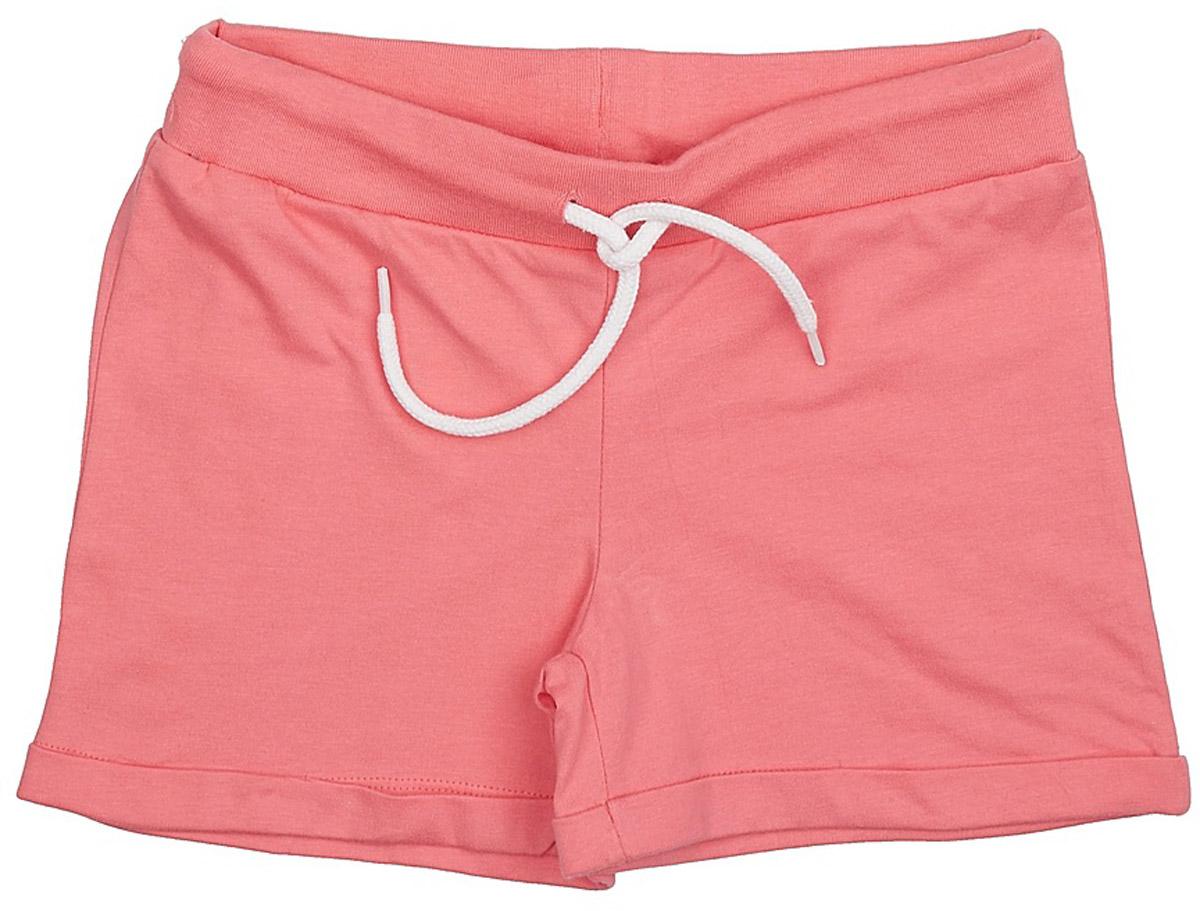 Шорты для девочки Sela, цвет: светло-коралловый. SHk-615/519-7234. Размер 134SHk-615/519-7234Короткие шорты для девочки Sela выполнены из натурального хлопка в спортивном стиле. Шорты прямого кроя с фиксированными отворотами на талии имеют широкий пояс на мягкой резинке, дополнительно регулируемый шнурком.