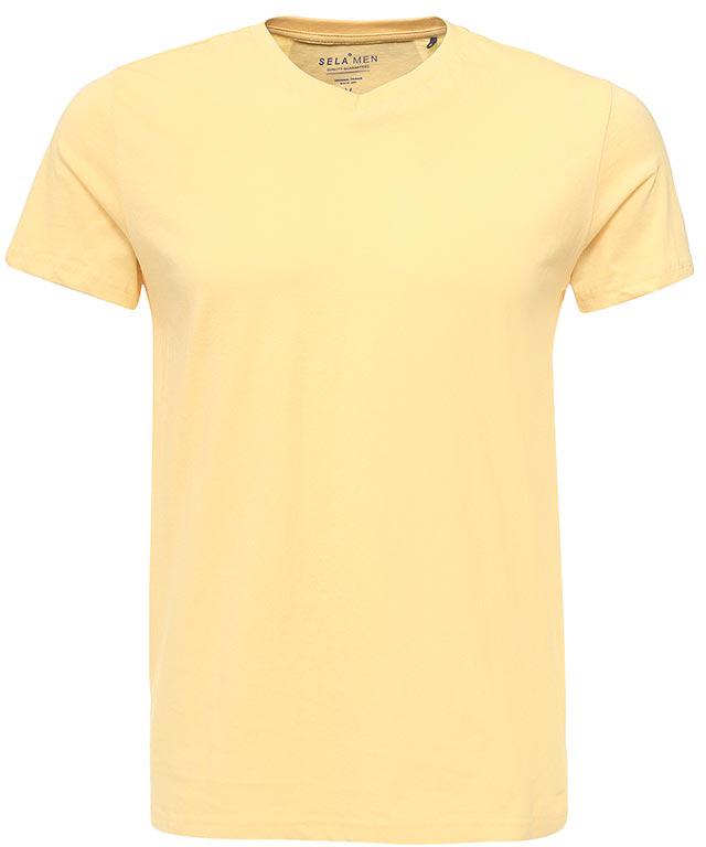 Футболка мужская Sela, цвет: светло-желтый. Ts-211/2063-7223. Размер M (48)Ts-211/2063-7223Модная мужская футболка Sela выполнена из натурального хлопка. Модель прямого кроя с V-образным вырезом горловины подойдет для прогулок и дружеских встреч и будет отлично сочетаться с джинсами и брюками. Воротник изделия дополнен мягкой трикотажной резинкой. Мягкая ткань комфортна и приятна на ощупь. Яркий цвет модели позволяет создавать стильные образы.