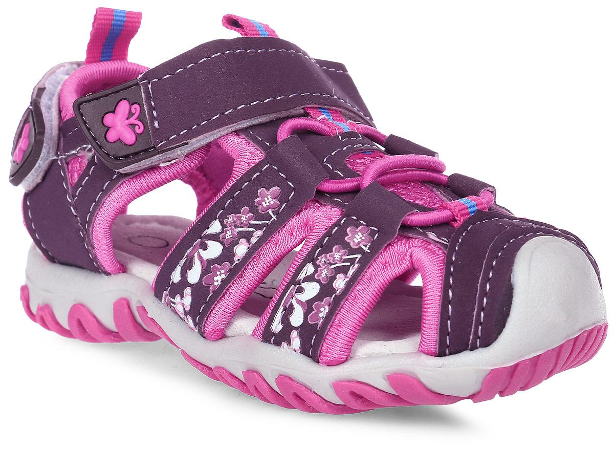 Сандалии для девочки Счастливый ребенок, цвет: фиолетовый. YT133-1-2-3. Размер 24YT133-1-2-3Сандалии для девочки Счастливый ребенок выполнены из искусственной кожи. На заднике и на подъеме модель дополнена ремешками на липучках. Подъем оформлен эластичной шнуровкой. Внутренняя поверхность и стелька изготовлены из натуральной кожи. Подошва из полимерного термопластичного материала оснащена рифлением.