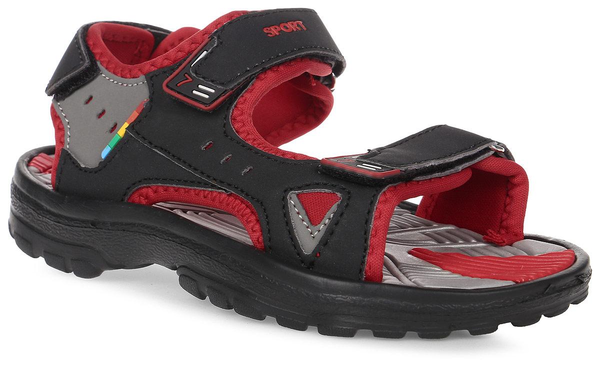 Сандалии для мальчика Эмальто, цвет: красный, черный, серый. 8668В. Размер 318668ВМодные сандалии для мальчика от Эмальто полностью выполнены из материала ЭВА. Верхняя поверхность подошвы дополнена рельефом, который обладает массажными свойствами. Ремешки с застежками-липучками надежно зафиксируют модель на ноге. Модель оформлена перфорацией, декоративной прострочкой и нашивками на ремешках. Подошва дополнена рифлением. Легкие и удобные сандалии займут достойное место в летнем гардеробе вашего ребенка.