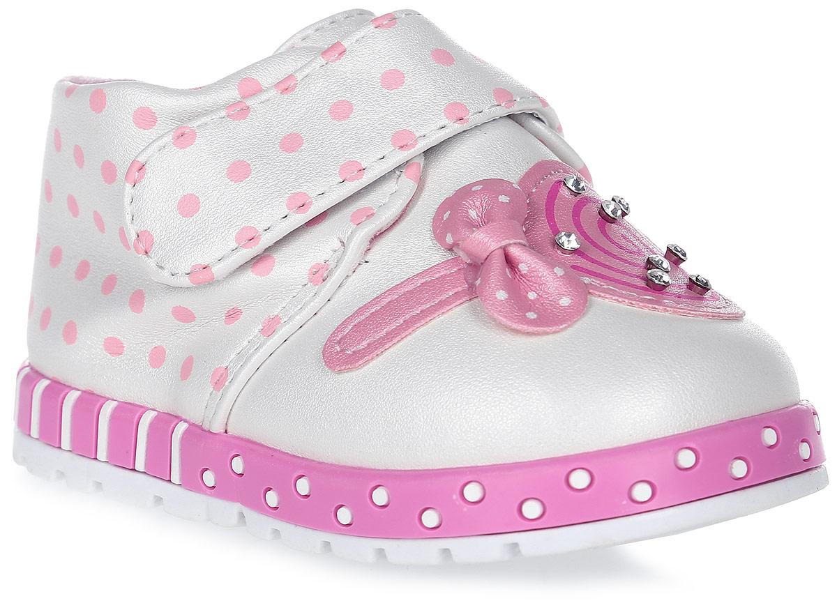Пинетки для девочки Канарейка, цвет: белый. K1186. Размер 18K1186Оригинальные детские пинетки от компании Канарейка - это легкая и удобная обувь для малышей, которые еще не умеют или только учатся ходить. Верх модели выполнен из качественной искусственной кожи. Внутри изделие выполнено из мягкого текстиля. Застегиваются пинетки хлястиком на липучке. Оформлена модель декоративным элементом со стразами.