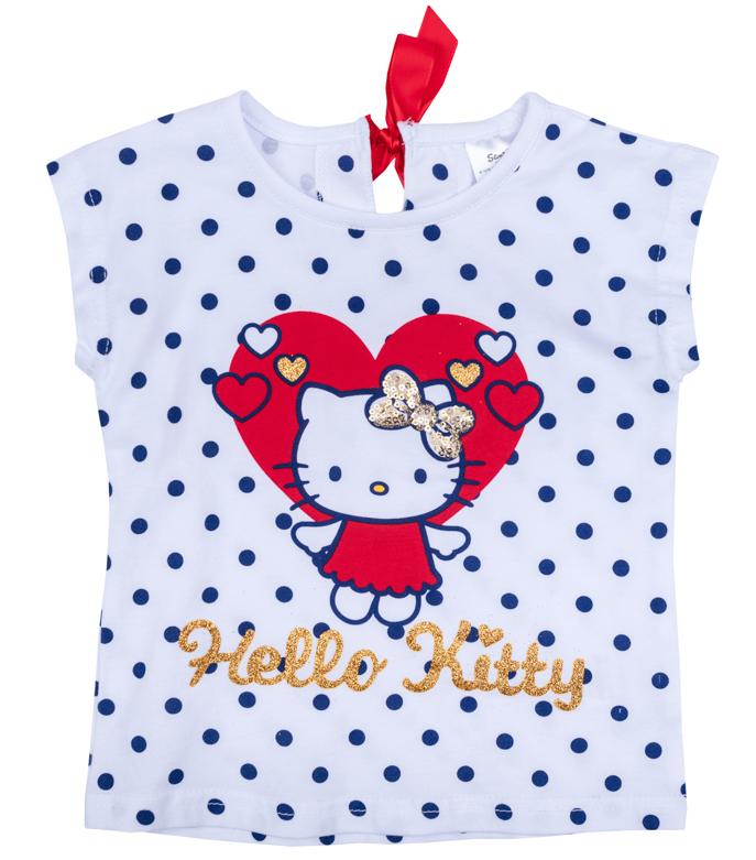 Футболка для девочки PlayToday, цвет: белый, красный, синий. 978005. Размер 74978005Футболка для девочки PlayToday с круглым вырезом горловины оформлена оригинальным принтом.