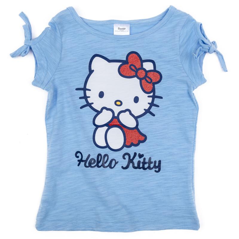 Футболка для девочки PlayToday, цвет: голубой. 972005. Размер 128972005Футболка для девочки PlayToday с круглым вырезом горловины и короткими рукавами оформлена оригинальным принтом.