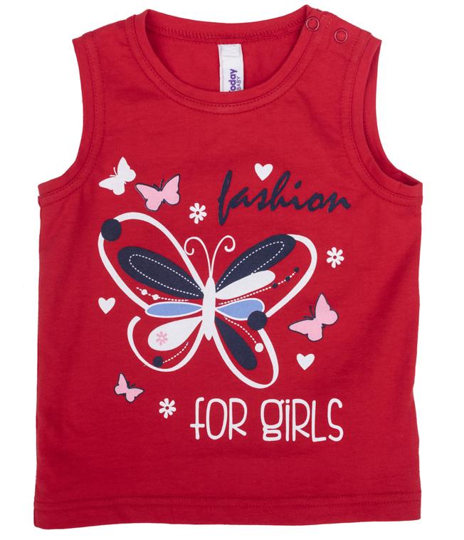 Майка для девочки PlayToday, цвет: красный. 278011. Размер 86278011Майка для девочки PlayToday с круглым вырезом горловины оформлена оригинальным принтом.