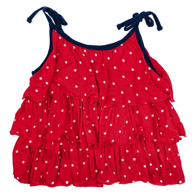 Топ для девочки PlayToday, цвет: красный, белый, синий. 278010. Размер 74278010Яркий топ для девочки PlayToday идеально подойдет вашей малышке и станет отличным дополнением к детскому гардеробу. Он необычайно мягкий и приятный на ощупь, не сковывает движения малышки и позволяет коже дышать, не раздражает нежную кожу ребенка, обеспечивая ему наибольший комфорт. Модель на тонких бретелях оформлена по всей длине оборками.