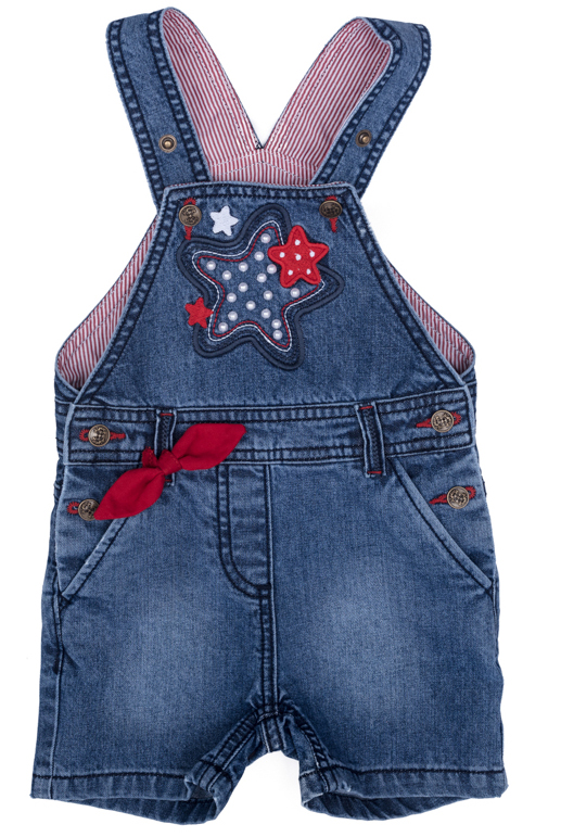 Полукомбинезон джинсовый для девочки PlayToday, цвет: синий, красный, белый, желтый. 278003. Размер 86278003Джинсовый полукомбинезон на регулируемых бретелях оформлен аппликацией.