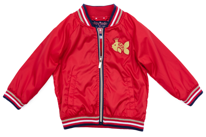 Куртка для девочки PlayToday, цвет: красный, синий, белый, золотистый. 278001. Размер 74278001Куртка для девочки PlayToday выполнена из качественного материала. Модель с длинными рукавами застегивается на молнию.