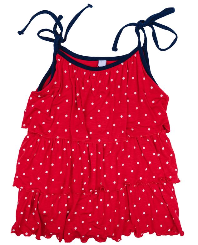 Топ для девочки PlayToday, цвет: красный, белый, синий. 272009. Размер 104272009Яркий топ для девочки PlayToday идеально подойдет вашей малышке и станет отличным дополнением к детскому гардеробу. Он необычайно мягкий и приятный на ощупь, не сковывает движения малышки и позволяет коже дышать, не раздражает нежную кожу ребенка, обеспечивая ему наибольший комфорт. Модель на тонких бретелях оформлена по всей длине оборками.