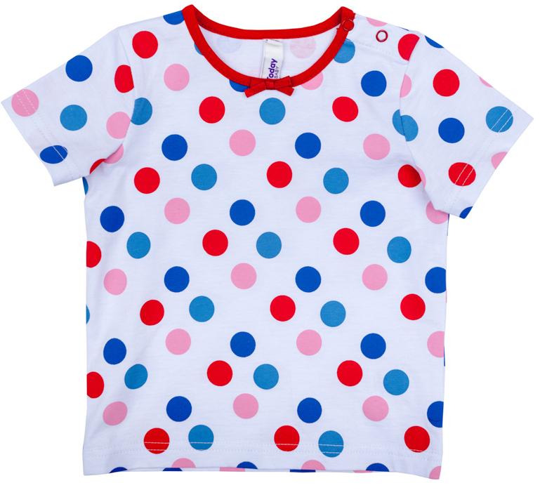 Футболка для девочки PlayToday, цвет: белый, синий, красный. 278008. Размер 80278008Футболка для девочки PlayToday с круглым вырезом горловины и короткими рукавами оформлена оригинальным принтом.