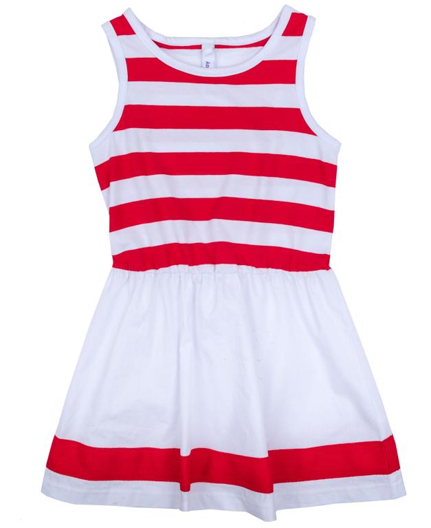 Платье для девочки PlayToday, цвет: белый, оранжевый. 272004. Размер 128272004Платье для девочки PlayToday выполнено из качественного материала. Модель с круглым вырезом горловины оформлена принтом в полоску.