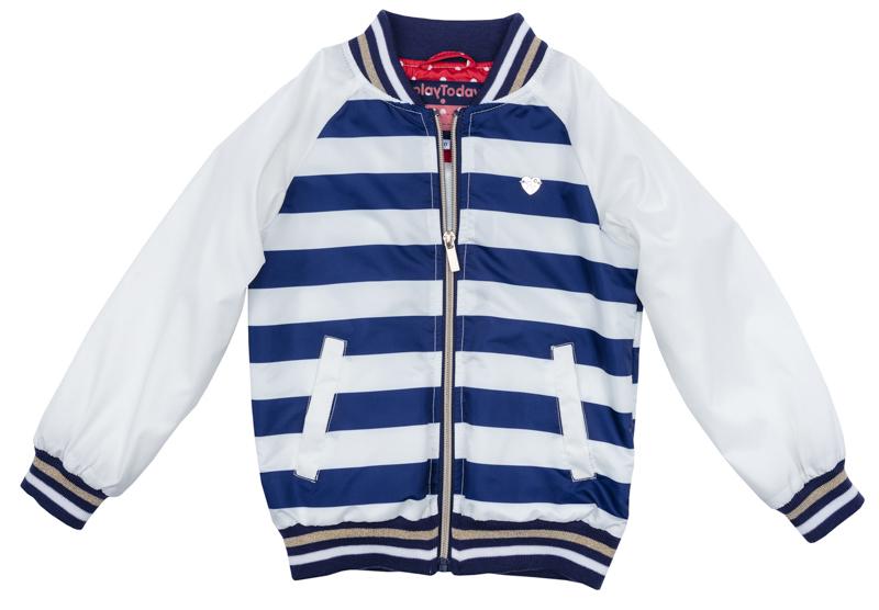 Куртка для девочки PlayToday, цвет: белый, синий, бежевый. 272001. Размер 104272001Куртка для девочки PlayToday выполнена из качественного материала. Модель с длинными рукавами застегивается на молнию.