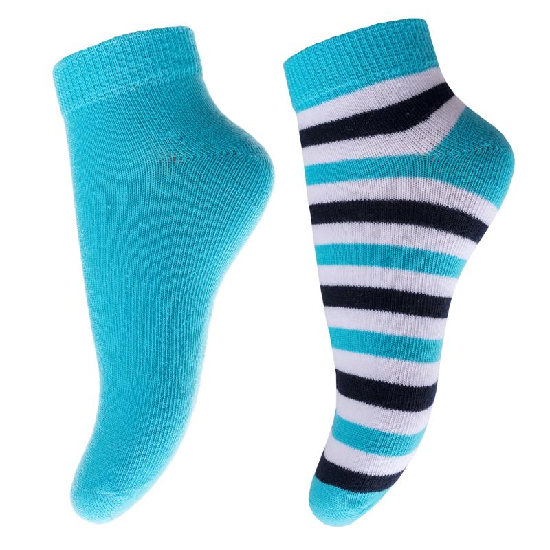 Носки для мальчика PlayToday, цвет: голубой, белый, черный, 2 пары. 271022. Размер 18