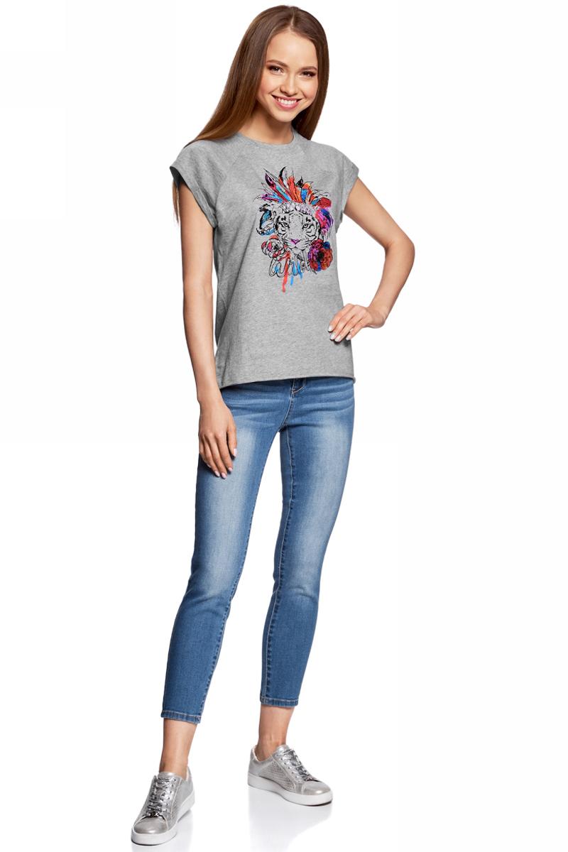 Футболка женская oodji, цвет: светло-серый. 14707001-29/46154/2019Z. Размер S (44)14707001-29/46154/2019ZЖенская футболка от oodji выполнена из натурального хлопка. Модель с короткими рукавами спереди оформлена принтом.