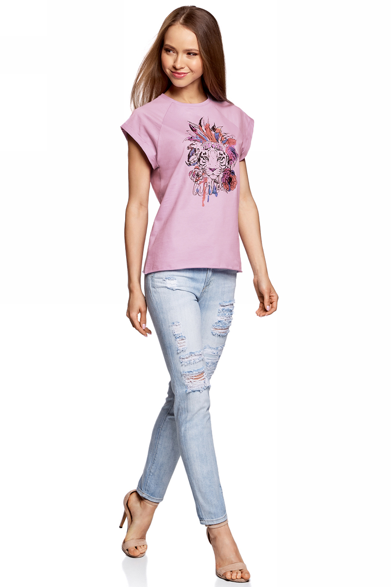 Футболка женская oodji, цвет: сиреневый. 14707001-29/46154/8019P. Размер XS (42)14707001-29/46154/8019PЖенская футболка от oodji выполнена из натурального хлопка. Модель с короткими рукавами спереди оформлена принтом.