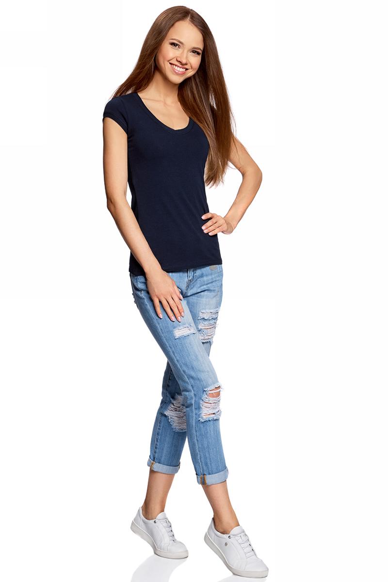 Футболка женская oodji, цвет: темно-синий. 14711002-3/46157/7919P. Размер L (48)14711002-3/46157/7919PЖенская футболка от oodji выполнена из эластичного хлопка. Модель с короткими рукавами и V-образным вырезом горловины.