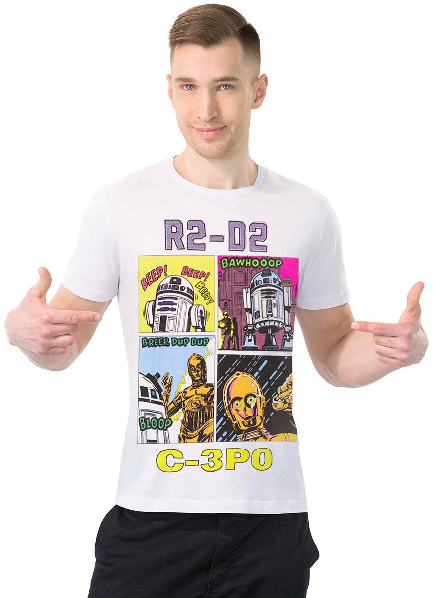 Футболка мужская MF SW R2D2 и C-3PO, цвет: белый. 2-94. Размер S (46)2-94Мужская футболка MF с короткими рукавами и круглым вырезом горловины выполнена из натурального хлопка. Оформлена модель оригинальным принтом и надписью. Такая модель подарит вам комфорт в течение всего дня и послужит замечательным дополнением к вашему гардеробу.