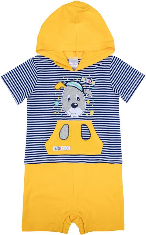 Комбинезон для мальчика PlayToday, цвет: желтый, синий, белый. 277011. Размер 74277011Комбинезон PlayToday идеально подойдет вашему малышу.Комбинезон с короткими рукавами и открытыми ножками.