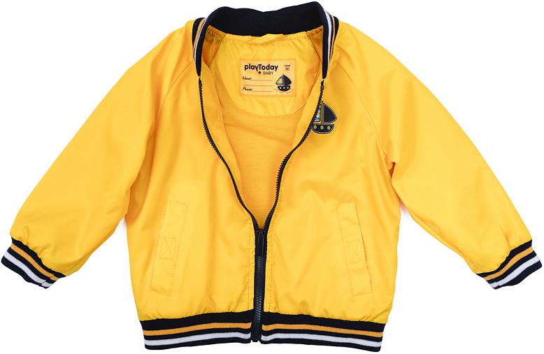 Куртка для мальчика PlayToday, цвет: желтый, черный, белый. 277001. Размер 74277001Куртка для девочки PlayToday выполнена из качественного материала. Модель с длинными рукавами застегивается на молнию.