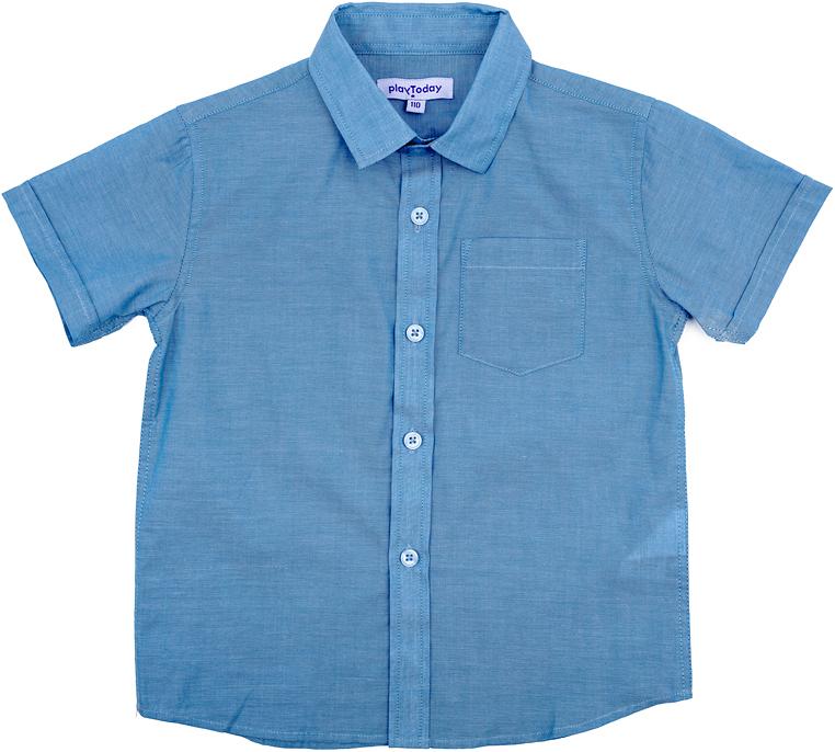 Рубашка для мальчика PlayToday, цвет: голубой. 271008. Размер 98271008Рубашка для мальчика PlayToday выполнена из хлопка. Модель с отложным воротником и короткими рукавами застегивается на пуговицы.