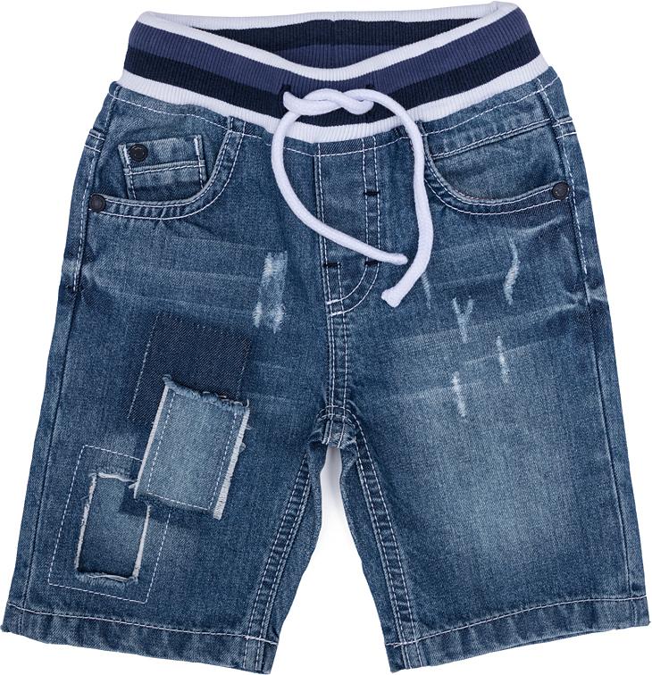 Шорты джинсовые для мальчика PlayToday, цвет: синий, белый. 277007. Размер 86277007Шорты для мальчика PlayToday выполнены из качественного материала. Дополнена модель затягивающимся шнурком.