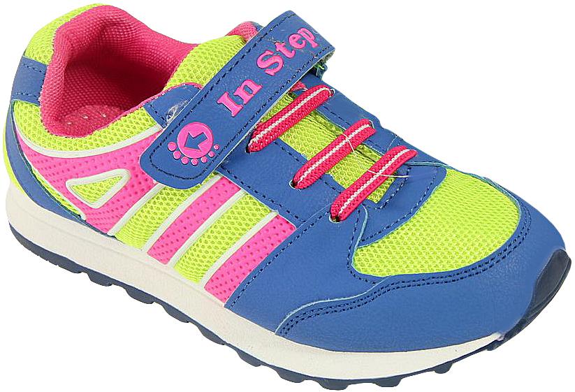 Кроссовки для мальчика In Step, цвет: синий. B007-3/5. Размер 33B007-3/5Детские кроссовки от In Step выполнены из комбинации дышащего текстиля и искусственной кожи. Ремешок с застежкой-липучкой и эластичная шнуровка гарантируют надежную фиксацию обуви на ноге. Внутренняя поверхность и стелька из текстиля комфортны при движении. Рельефная подошва изготовлена из резины.