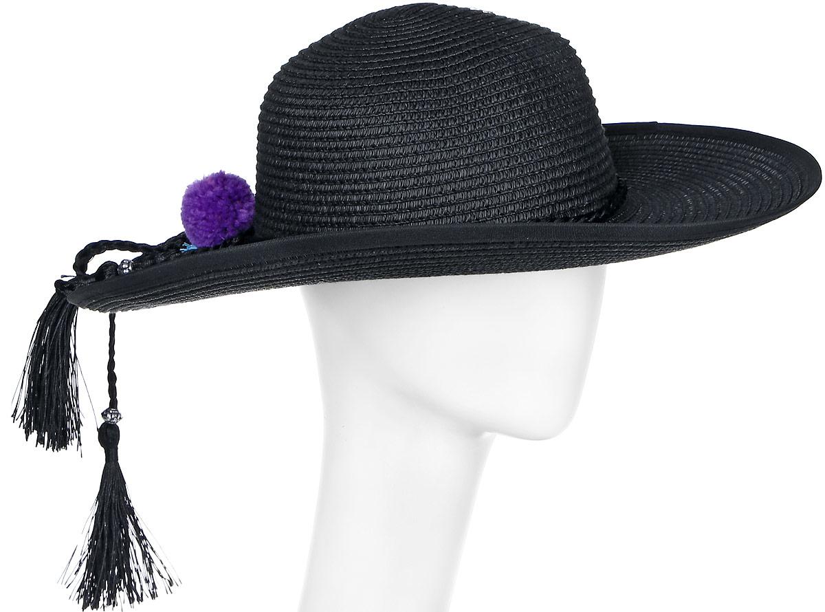 Шляпа женская Модные истории, цвет: черный. 4/0052/030. Размер универсальный4/0052/030Широкополая шляпа Модные истории выполнена из целлюлозы. Модель оформлена плетением и декоративными нашивками в виде помпонов и косичек. Благодаря своей форме, шляпа удобно садится по голове и подойдет к любому стилю. Изделие легко восстанавливает свою форму после сжатия.