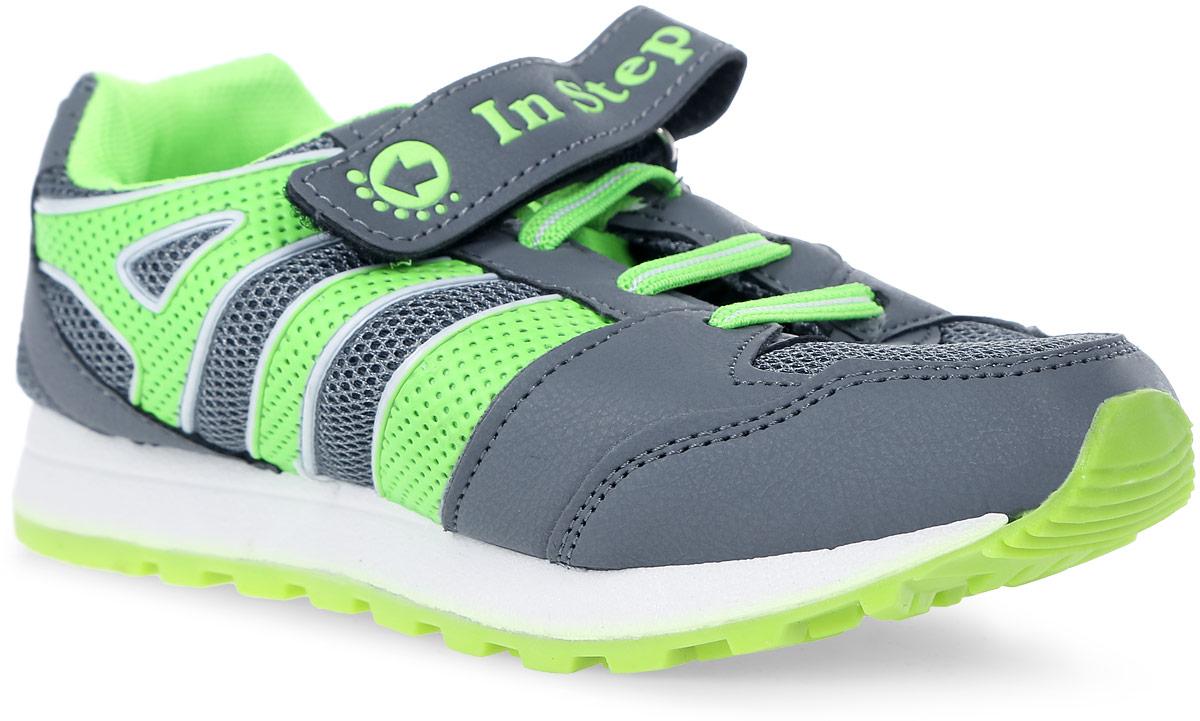Кроссовки для мальчика In Step, цвет: серый. B007-3/5. Размер 34B007-3/5Детские кроссовки от In Step выполнены из комбинации дышащего текстиля и искусственной кожи. Ремешок с застежкой-липучкой и эластичная шнуровка гарантируют надежную фиксацию обуви на ноге. Внутренняя поверхность и стелька из текстиля комфортны при движении. Рельефная подошва изготовлена из резины.