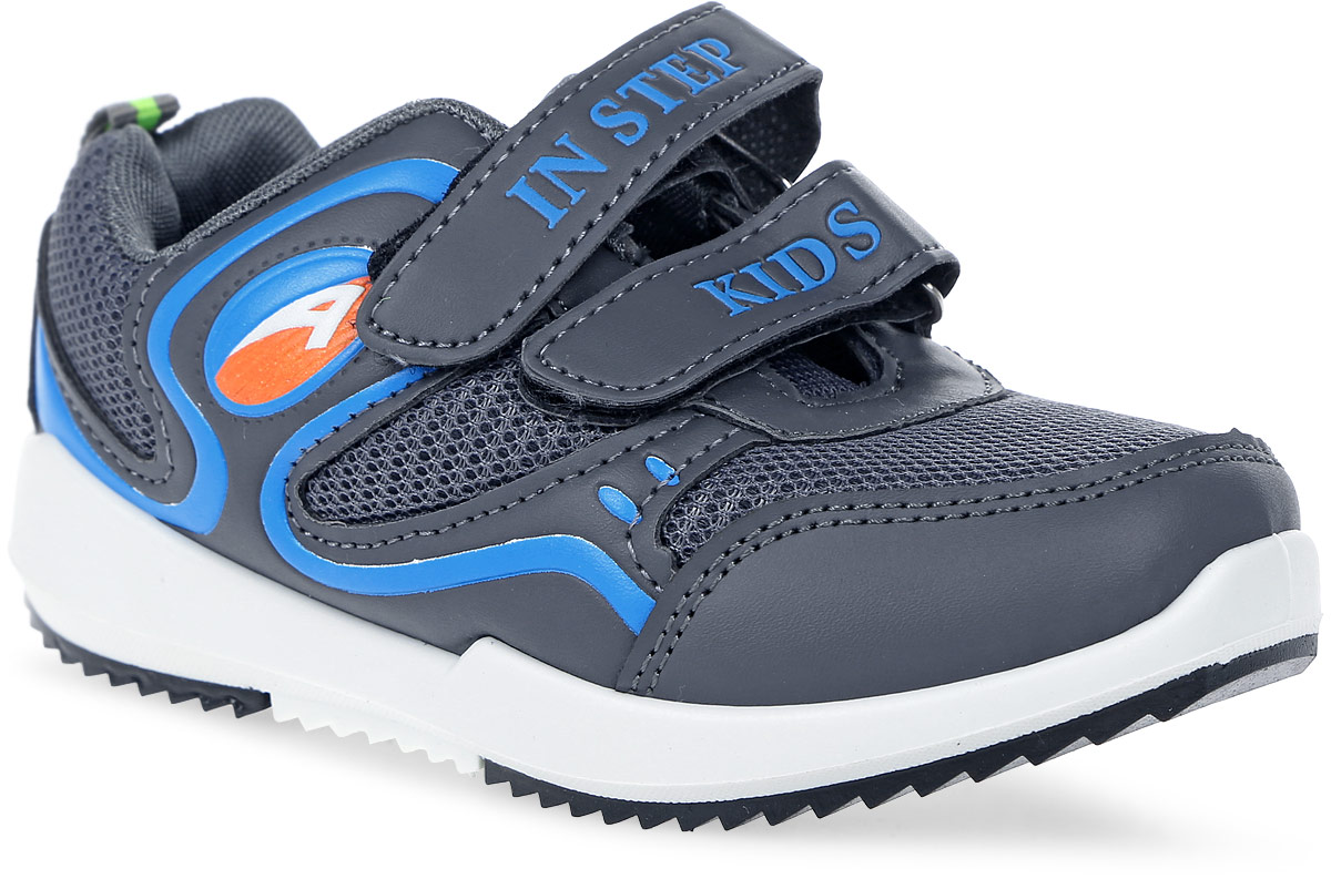 Кроссовки детские In Step, цвет: темно-серый, голубой. HF035-2. Размер 34HF035-2Детские кроссовки от In Step выполнены из комбинации дышащего текстиля и искусственной кожи. Ремешки на липучке гарантируют надежную фиксацию обуви на ноге. Внутренняя поверхность и стелька из текстиля комфортны при движении. Рельефная подошва изготовлена из резины.