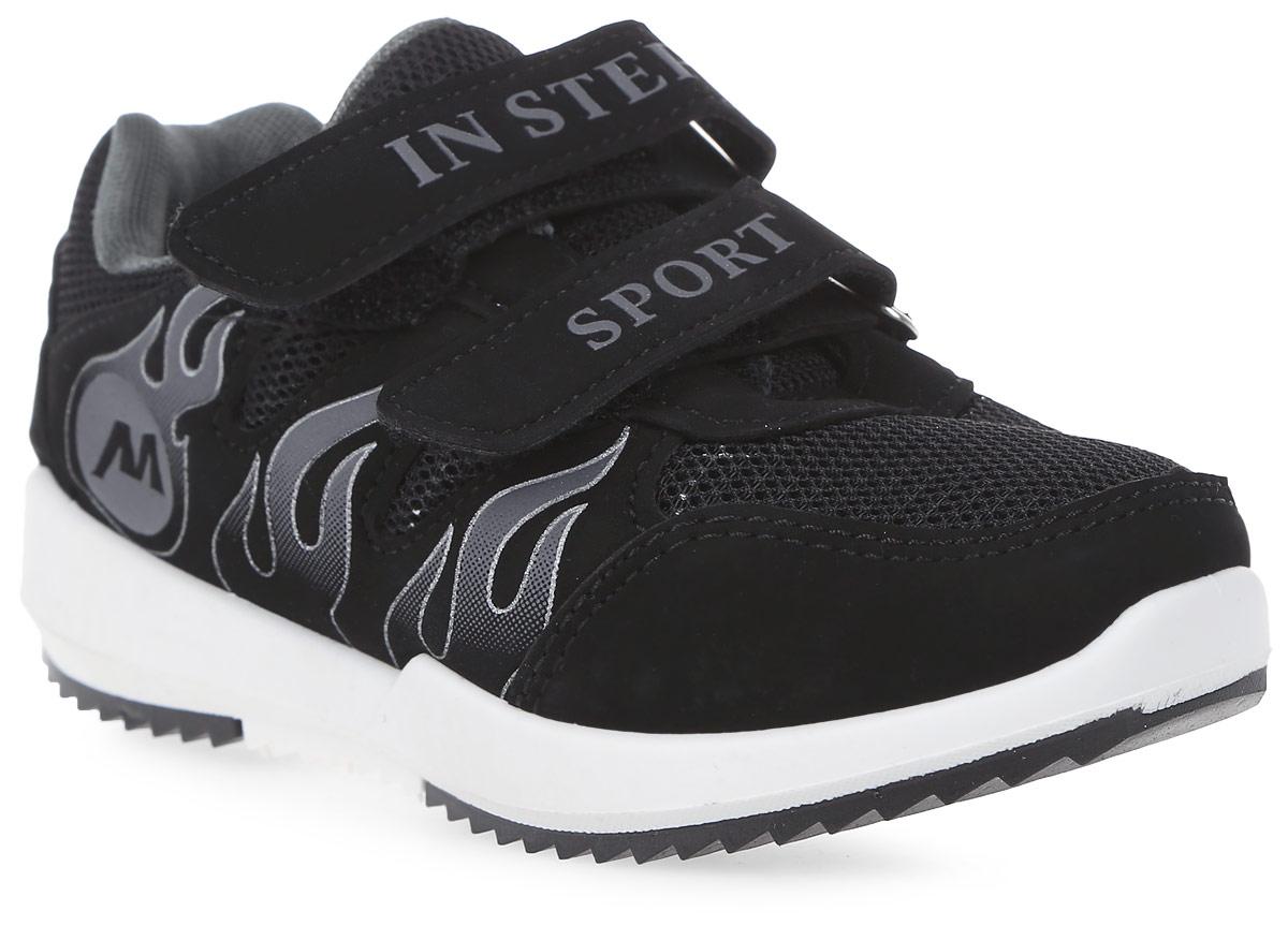 Кроссовки детские In Step, цвет: черный. HF033-1. Размер 30HF033-1Детские кроссовки от In Step выполнены из комбинации дышащего текстиля и искусственной кожи. Ремешки на липучке гарантируют надежную фиксацию обуви на ноге. Внутренняя поверхность и стелька из текстиля комфортны при движении. Рельефная подошва изготовлена из резины.