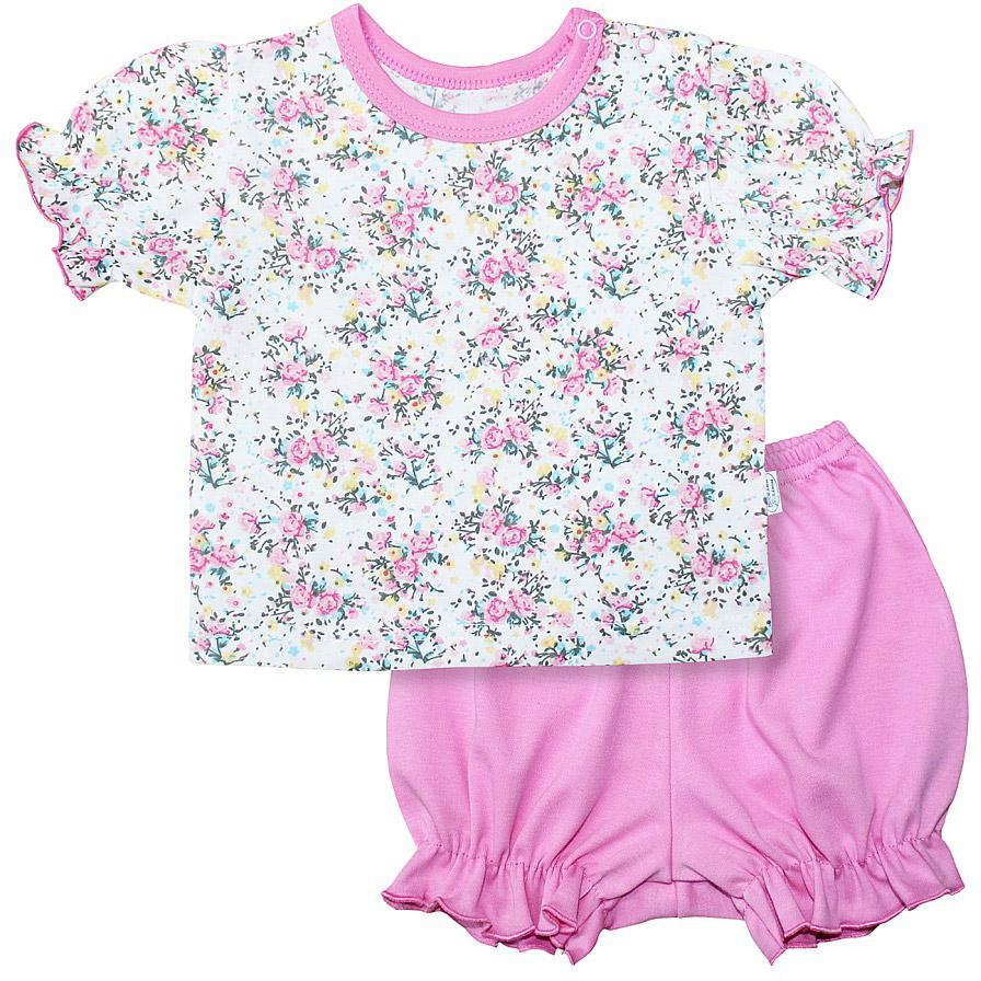 Комплект для девочки Веселый малыш One: футболка, шорты, цвет: розовый. 219172/one-Букет. Размер 74219172_букетКомплект для девочки Веселый малыш One выполнен из качественного материала и состоит из футболки и шорт. Футболка с короткими рукавами и круглым вырезом горловины. Шорты дополнены оборками.
