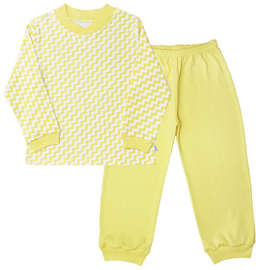 Пижама для мальчика Веселый малыш, цвет: желтый. 9215-M (1). Размер 1289215Пижама для мальчика Веселый малыш выполнена из качественного материала и состоит из лонгслива и брюк. Лонгслив с длинными рукавами и круглым вырезом горловины. Брюки понизу дополнены манжета