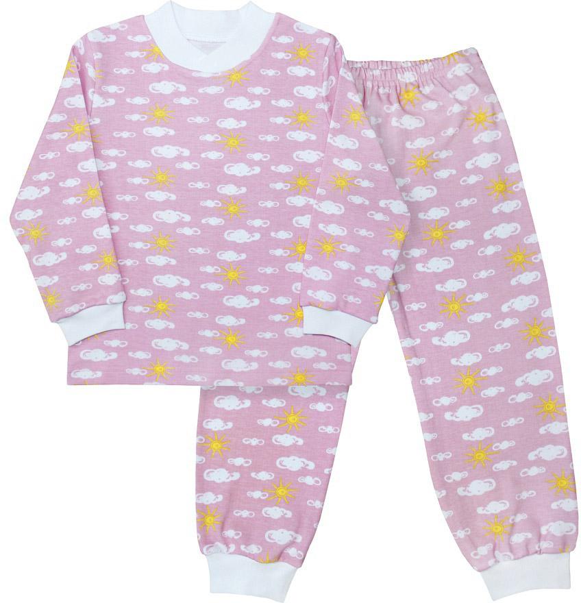 Пижама для девочки Веселый малыш, цвет: розовый. 9215-J (1). Размер 1109215Пижама для девочки Веселый малыш выполнена из качественного материала и состоит из лонгслива и брюк. Лонгслив с длинными рукавами и круглым вырезом горловины. Брюки понизу дополнены манжетами.