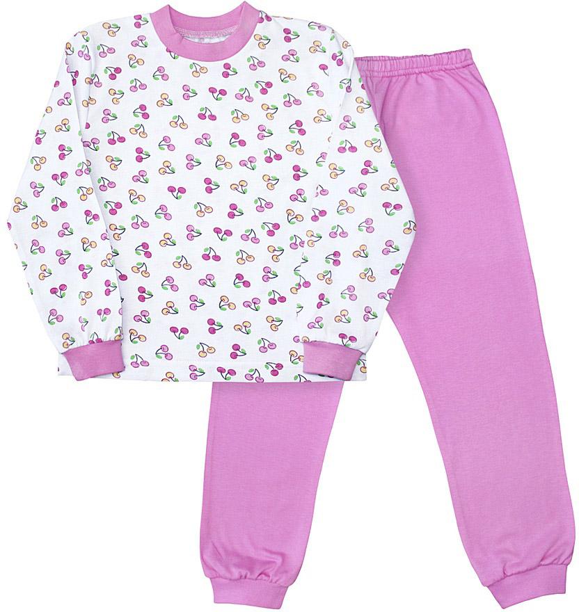 Пижама для девочки Веселый малыш, цвет: розовый. 9317-Вишенки. Размер 1169317Пижама для девочки Веселый малыш выполнена из качественного материала и состоит из лонгслива и брюк. Лонгслив с длинными рукавами и круглым вырезом горловины. Брюки понизу дополнены манжетами.