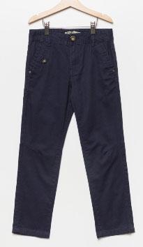 Брюки для мальчика Sela, цвет: темно-синий. P-815/303-7112. Размер 146, 11 летP-815/303-7112Стильные брюки для мальчика Sela выполнены из натурального хлопка. Брюки прямого кроя и стандартной посадки на талии застегиваются на пуговицу и имеют ширинку на застежке-молнии. На поясе имеются шлевки для ремня. Модель дополнена двумя втачными и одним прорезным карманами спереди и двумя накладными карманами сзади.