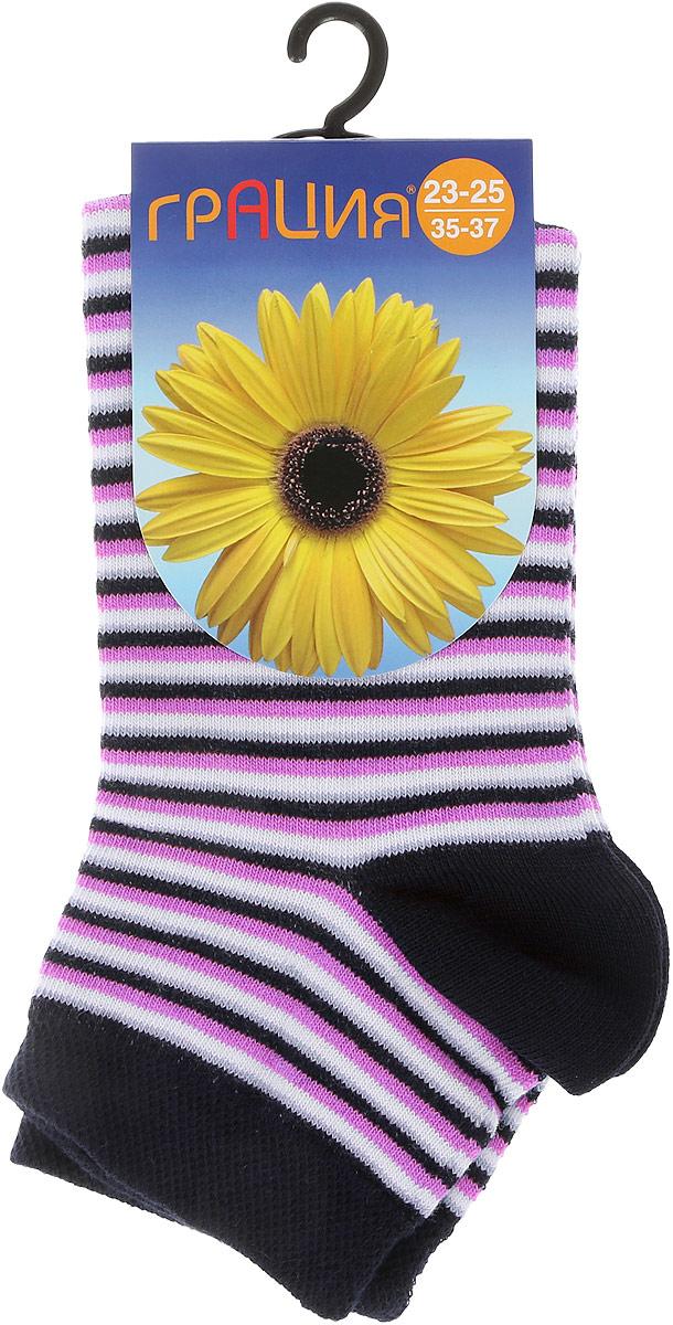 Носки женские Грация, цвет: темно-синий, розовый. М1088. Размер 38/40М1088Женские носки Грация, изготовленные из высококачественного сырья, идеально подойдут для вас. Комфортная резинка не сдавливает ногу.Носки всесезонные с укороченным паголенком.