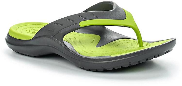 Сланцы Crocs MODI Sport Flip, цвет: серый, зеленый. 202636-0A1. Размер 9-11 (41/42)202636-0A1Стильные сланцы от Crocs придутся вам по душе. Рифление на верхней поверхности подошвы предотвращает выскальзывание ноги. Рельефное основание подошвы обеспечивает уверенное сцепление с любой поверхностью. Удобные сланцы прекрасно подойдут для похода в бассейн или на пляж.