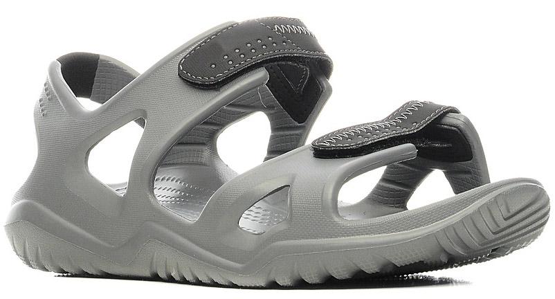 Сандалии мужские Crocs Swiftwater River Sandal, цвет: серый. 203965-082. Размер 11 (43/44)203965-082Сандалии от Crocs выполнены из полимера. Рельефная поверхность верхней части подошвы комфортна при движении. Рифленое основание подошвы гарантирует идеальное сцепление с любой поверхностью. Такие сандалии не только прекрасно смотрятся на ноге, они очень удобны и долговечны.