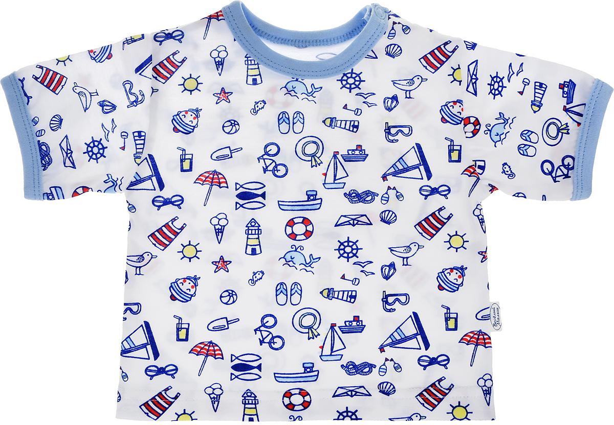 Футболка для мальчика Веселый малыш One, цвет: голубой. 67172/one-Морская. Размер 8067172_морскаяФутболка для мальчика Веселый малыш выполнена из качественного материала. Модель с круглым вырезом горловины и короткими рукавами.