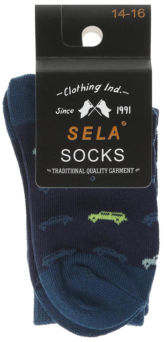 Носки для мальчика Sela, цвет: темно-синий. SOb-7854/032-7101. Размер 16/18SOb-7854/032-7101Носки для мальчика Sela - отличный вариант для повседневной носки. Носки изготовлены из эластичного хлопка с добавлением полиамида и оформлены оригинальным принтом.Широкая эластичная резинка надежно фиксирует носки на ноге, не доставляя дискомфорта. Уважаемые клиенты! Размер, доступный для заказа, является длиной стопы.