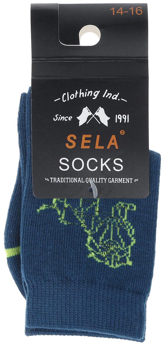 Носки для мальчика Sela, цвет: темно-синий. SOb-7854/038-7101. Размер 16/18SOb-7854/038-7101Носки для мальчика Sela - отличный вариант для повседневной носки. Носки изготовлены из эластичного хлопка с добавлением полиамида и оформлены оригинальным принтом.Мягкаяэластичная резинка надежно фиксирует носки на ноге, не доставляя дискомфорта. Уважаемые клиенты! Размер, доступный для заказа, является длиной стопы.