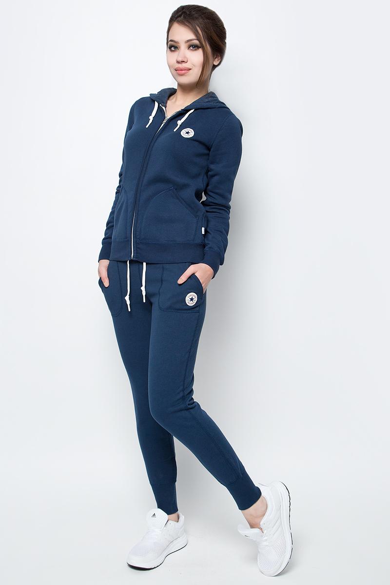 Толстовка женская Converse Core Full Zip Hoodie, цвет: синий. 10002089414. Размер S (44)10002089414Толстовка женская Converse изготовлена из мягкого смесового материала. Модель выполнена с длинными рукавами и капюшоном. Толстовка дополнена двумя карманами и эластичными резинками по низу изделия и на манжетах рукавов.
