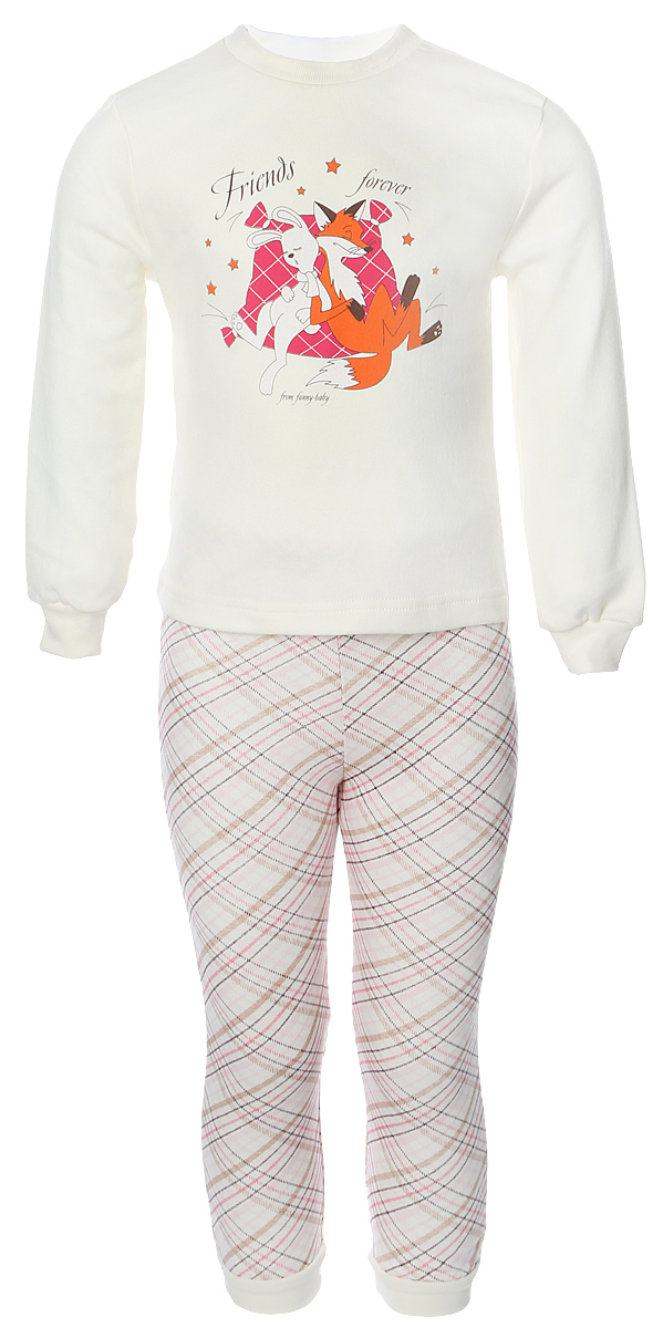 Пижама для девочки Веселый малыш Друзья, цвет: розовый. 230320-I (1). Размер 104230320Пижама для девочки Веселый малыш выполнена из качественного материала и состоит из лонгслива и брюк. Лонгслив с длинными рукавами и круглым вырезом горловины. Брюки понизу дополнены манжетами.